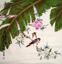 Double birds-Banana Leaf-CNAG232537 - Chinese Painting