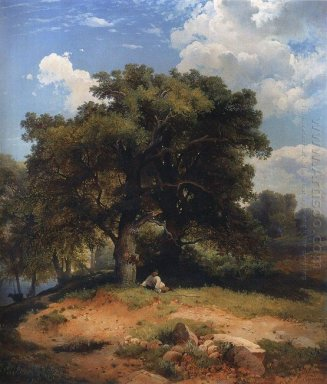 landscape with oak trees and shepherd