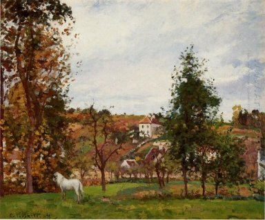 landscape with a white horse in a field l ermitage 1872