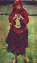 Peasant Girl Knitting a Stocking