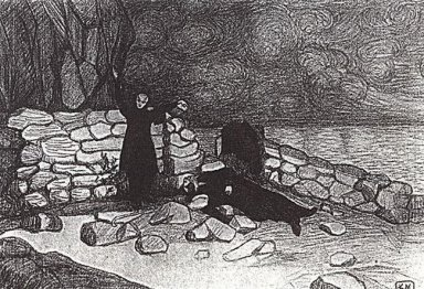 A Scene From The Drama Of Leonid Andreev Anathema 1909
