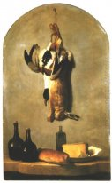 Still Life with Hare, Duck, Loaf of Bread, Cheese and Flasks of