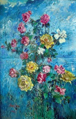 Roses With Blue Background 1960
