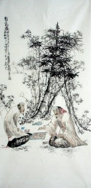 Old, play chess-Chinese Painting