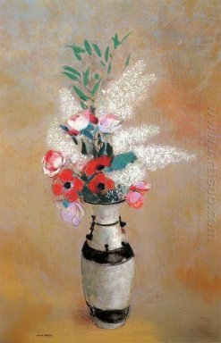 Bouquet With White Lilies In A Japanese Vase