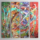 Hand-painted Abstract Oil Painting - Set of 4
