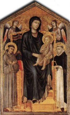 Madonna Enthroned With The Child St Francis St Domenico And Two