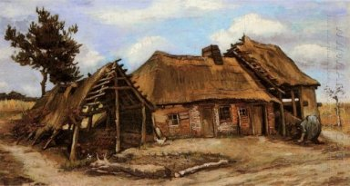 Cottage With Decrepit Barn And Stooping Woman 1885