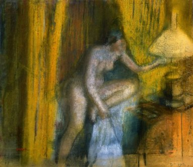 bedtime woman extinguishing her lamp