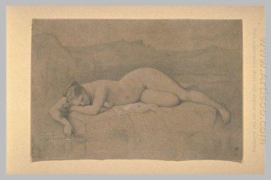 Naked Woman Lying On A Rock