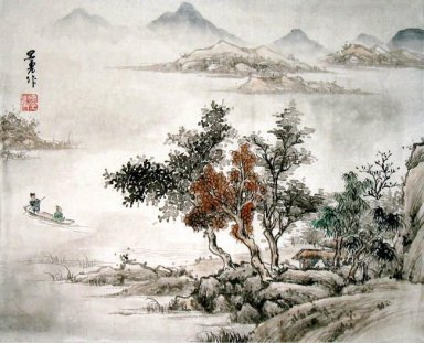 Boat and House - Chuan - Chinese Painting