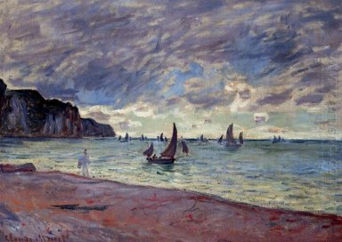 Fishing Boats By The Beach And The Cliffs Of Pourville
