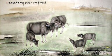 Cow-Five cow - Chinese Painting