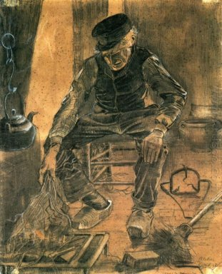 An Old Man Putting Dry Rice On The Hearth 1881