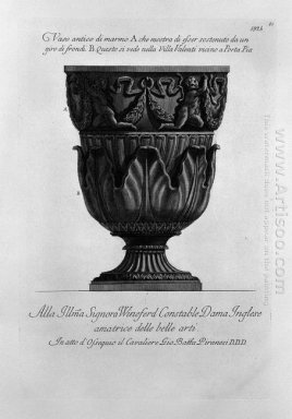 Antique Vase Of Marble In The Villa Valenti At Porta Pia