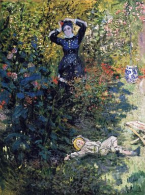 Camille And Jean Monet In The Garden At Argenteuil