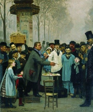 A Newspaper Seller In Paris 1873