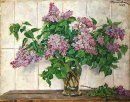 Still Life Lilacs In A Glass Jar Against The Stove 1952