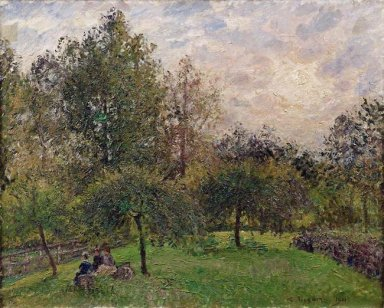 apple trees and poplars in the setting sun 1901