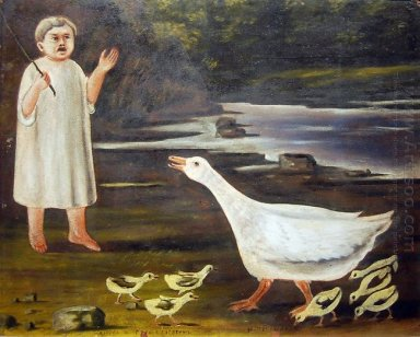 The Girl And The Goose With Goslings