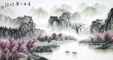 Water and Tree - Fangzi - Chinese Painting