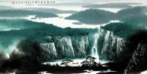 Mountains, river, waterfall - Chinese Painting