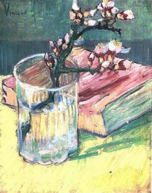 Blossoming Almond Branch In A Glass With A Book 1888