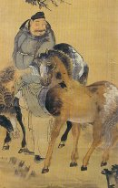 The painting of a man with two horses (detail?)