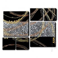 Hand Painted Oil Painting Abstract - Set of 6