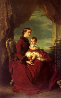 The Empress Eugenie Holding Louis Napoleon The Prince Imperial O