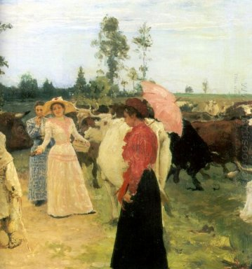 Young Ladys Walk Among Herd Of Cow 1896