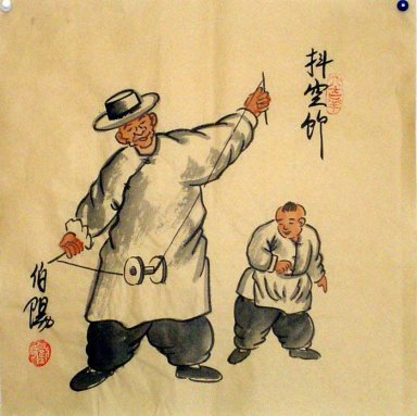 Old Beijingers, Diabolo - Chinese painting