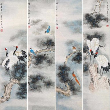 Crane&Pine(Four Screens) - Chinese Painting