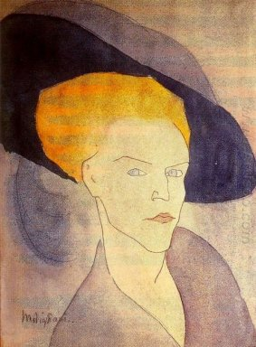 head of a woman with a hat 1907
