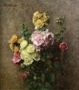 Hollyhocks Without Vase 1884
