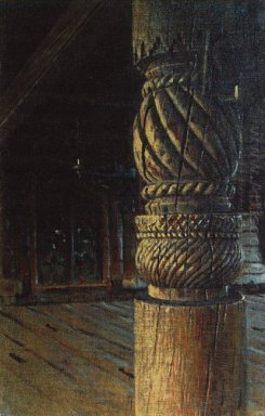 Carved Pillar In The Refectory Of The Petropavlovsk Church In Th