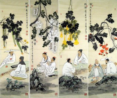 Philosopher, set of 4 - Chinese painting