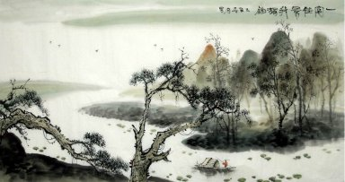 Trees and River - Chinese Painting