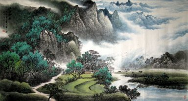 Mountains, water, trees - Chinese Painting