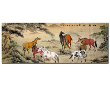 Eight Horses-Play(Colorful) - Chinese Painting