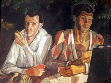 Arlequin et Pierrot, double autoportrait - Peinture à l\'huile