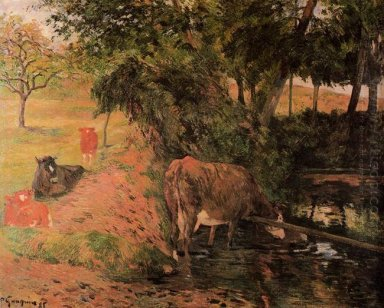 landscape with cows in an orchard 1885