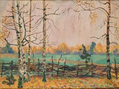 Birch Trees By The Fence 1938