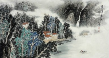 Boat on the lake - Chinese Painting