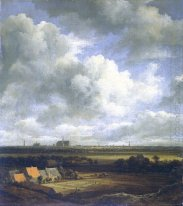 View of Haarlem with bleaching fields in the foreground