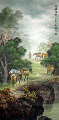 Trees, horses - Chinese Painting