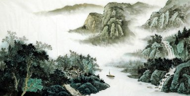 Moutains. Waterfall, River - Chinese Painting
