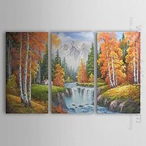Hand-painted Abstract Oil Painting - Set of 3