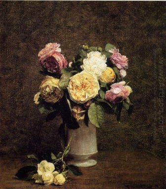 Roses In A White Porcelin Vase 1874