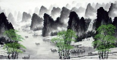 Green Tree, River, Mountain - Chinese Painting
